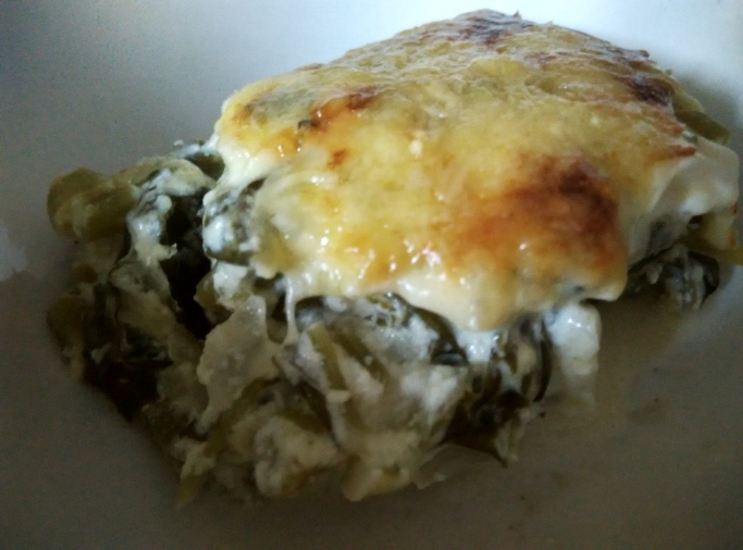Cheesy Baked Spinach - Slice